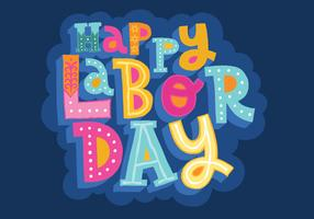 Glad Labour Day Lettering Vector