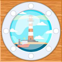Leuchtturm im Schiffsfenster Hintergrund vektor