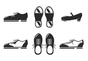 Schwarze Tap Schuhe Icon Vektor