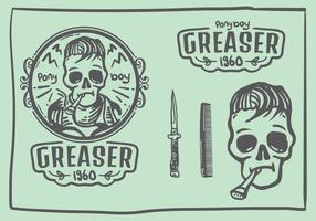 Greaser Schädel Doodle Logo vektor