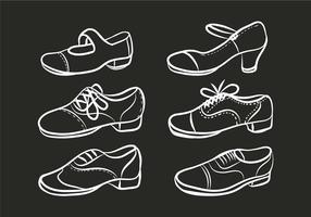 Tryck på skor vektor uppsättning