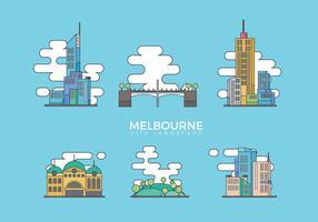 Melbourne City Landscape Flat Vector Illustration