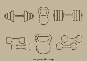 Skizze Gewichtheben Ausrüstung Vektor