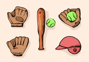 softball saker startpaket doodle vektor illustration