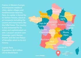 Färgglada Frankrike kartor med Regoins