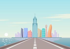 Autobahn in die Stadt kostenlose Vector