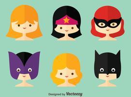 Flache Superwoman Sammlung Vektor