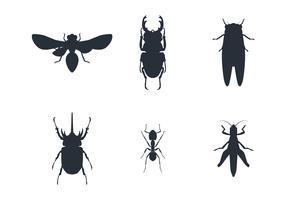 insekt silhuett uppsättning vektor