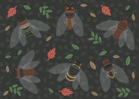Set av färgstarkt Cicada-mönster vektor