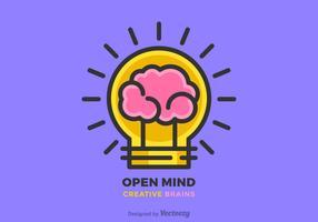 Kreative Gehirn-Idee und Glühbirne Vektor-flache Linie Design