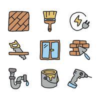Set von Doodles über die Festsetzung eines Hauses vektor