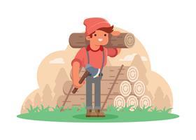 Woodcutter bärande timmer och trä axel