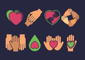Vänlighet ikoner uppsättning vektor