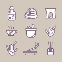 Skisserad uppsättning ikon om alternativa sätt att slappna av vektor