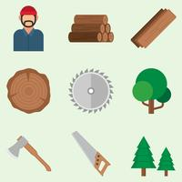lumberjack icons set