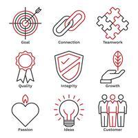 Unternehmen Core Value Icons vektor