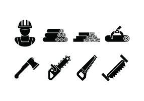 Holzfäller-Set-Symbol vektor