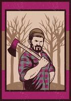Lumberjack Carrying Axe Vector