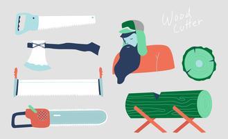 Holzfäller-Tools Set Vektor flache Illustration