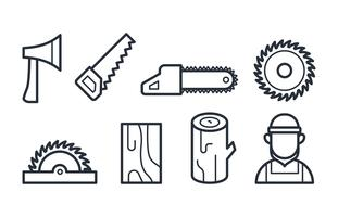 Holzfäller-Icons in linearen Stil-Vektoren vektor