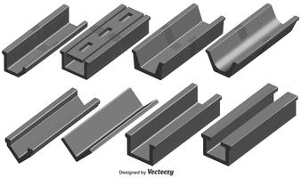 Vektor Set Of 3D Roof Gutter Elements