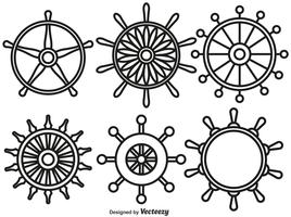 Vektor Set Of Ship Wheels Line Style Icons