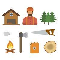 Flache Holzfäller Vektoren