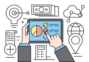 Linjära webb- och affärsdelar vektor
