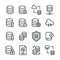 Umrissene Symbole über die Datenbank vektor