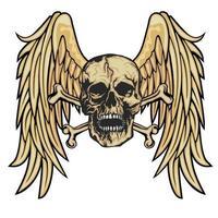 Grunge Schädel und Flügel vektor
