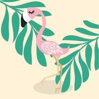 söt rosa flamingo tropisk vektor