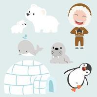 vektor uppsättning eskimo platt design