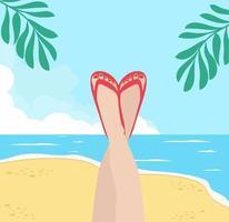 Beine der Frau mit Sommerstrand