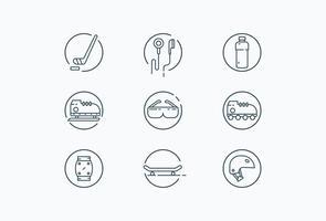 Ikonen von Rollerblade, Skateboard, Schlittschuh und anderen verwandten Objekten vektor