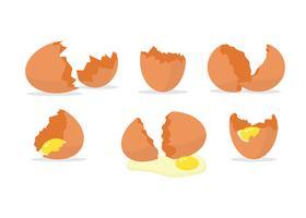 Zerbrochene Eier legen freien Vektor fest