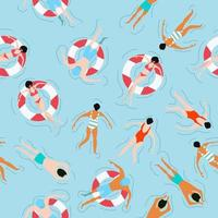 Völker schwimmen Sommer Muster vektor