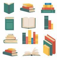 bunt med böcker i platt designkollektion vektor