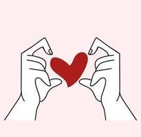 händer vektor med formad hjärta