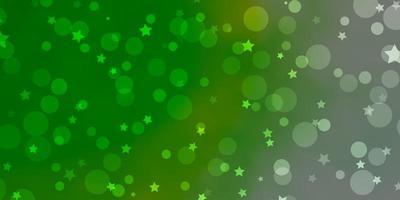 hellgrüner Hintergrund mit Kreisen, Sternen.