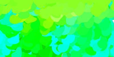 hellblaue, grüne Vorlage mit abstrakten Formen.