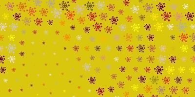 hellrote, gelbe Textur mit Krankheitssymbolen.