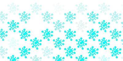 ljusblått mönster med coronaviruselement.