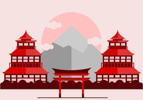 Red Japanese Shrine Vector