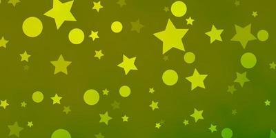 ljusgrön, gul bakgrund med cirklar, stjärnor.