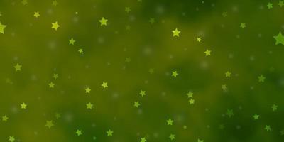 ljusgrön bakgrund med små och stora stjärnor. vektor