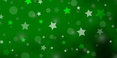 ljusgrön bakgrund med cirklar, stjärnor. vektor
