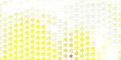 gul bakgrund med virussymboler.