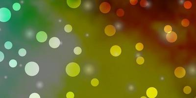 ljusgrön, gul bakgrund med cirklar, stjärnor. vektor