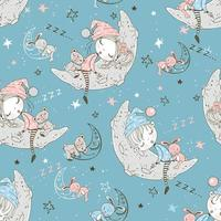 Kinder im Schlafanzug schlafen auf dem Mondmond. vektor