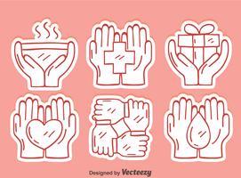 skissa helande händer element vektor